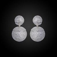 Monili di Marca di moda New Hot Placcato Argento di Alta Qualità di Charme Metallo Rotonda Doppia sfera Orecchini GLE5637A