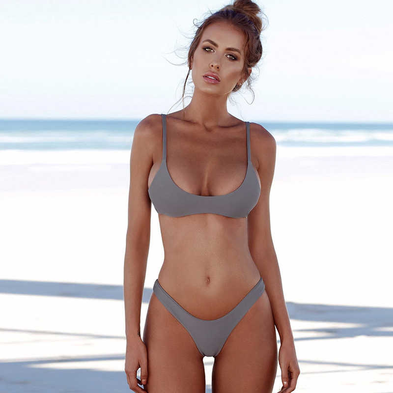 06eb2a50fbee1 ... Hot Sexy Sling Large Bust Bikinis Set Solid Plus Size Swimsuit Women  High Waist Push Up