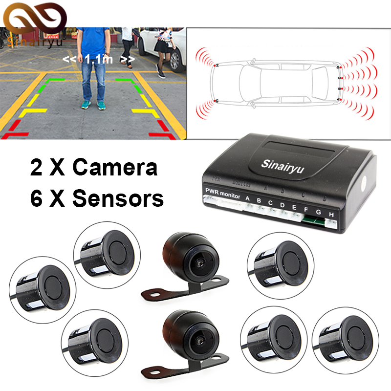 Sinairyu New Dual Channel Video Car Parking Reverse Radar System 6 8 Sensor with Front View Camera and Rear view Camera new set 4 89341 30010 b5 pdc parking distance sensor reverse assist for toyota