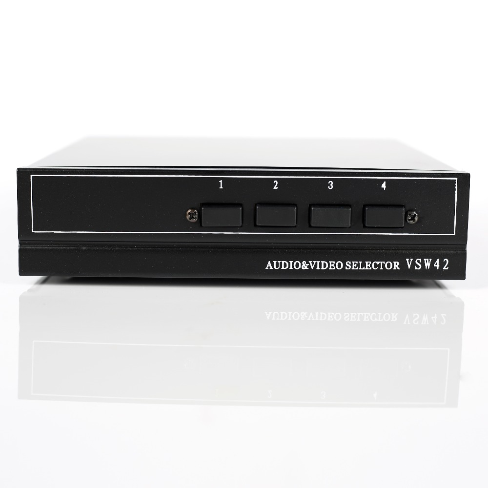 4 puertos 2 salidas compuesto 3 RCA Video Audio AV Switch Switcher Box Selector 4 en 1 Out 4x1 4in 2out 4x2 para HDTV LCD DVD