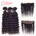 7A Malaysian Deep Curly 3 Bundles With Closure Coleen Hair Products With Closure 13x4 Deep Wave Human Hair Lace Frontal Closure