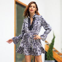 Sexy Women Dress Snake Print Short Dress Autumn Casual Fashion Elegant Women Long Sleeve V neck Loose Mini Dresses Grey Camel