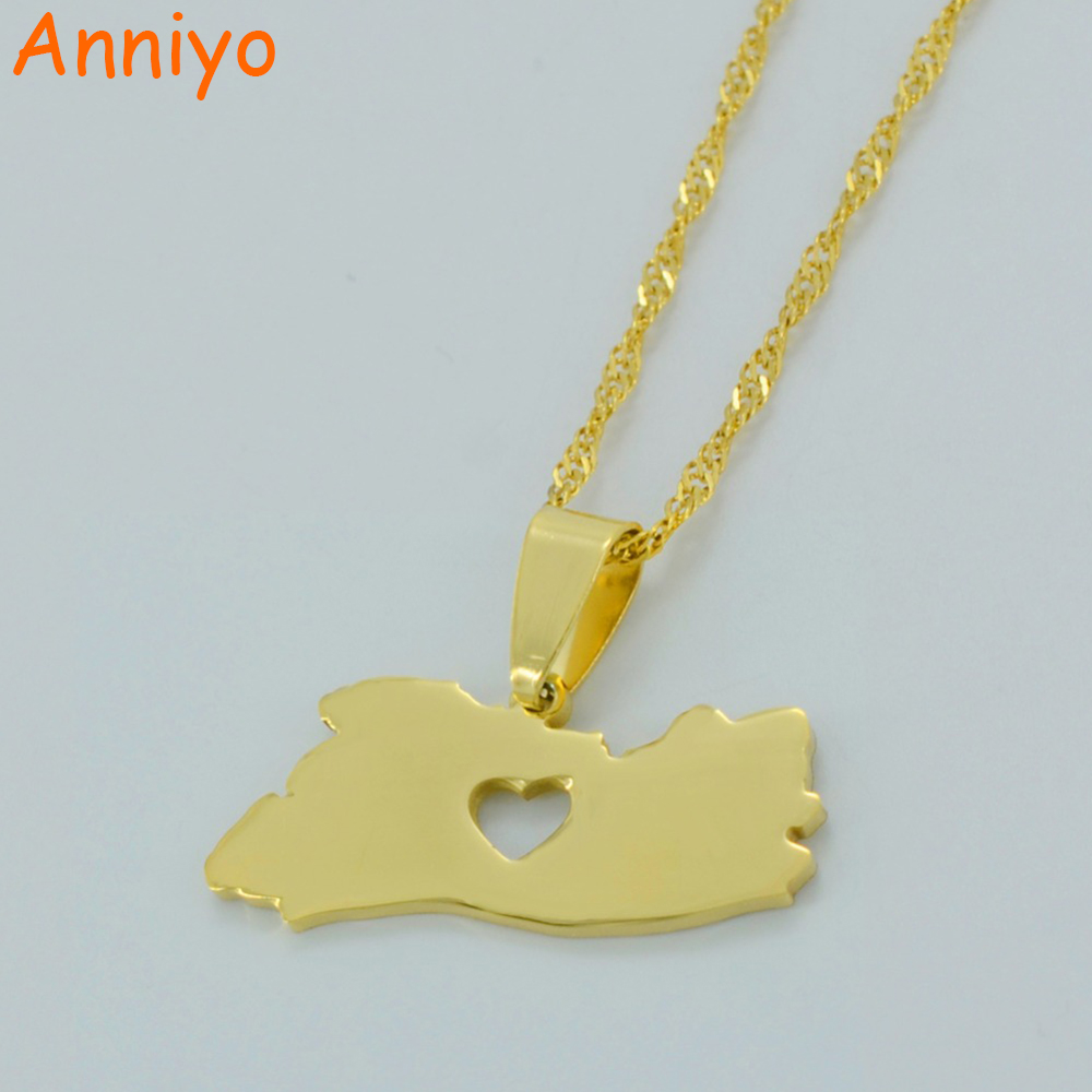 Anniyo El Salvador Map Pendant Necklace for Women/Men Gold Color Jewelry Map of El Salvador Necklaces #004921