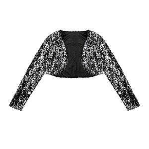 Image 4 - Kadınlar düğün gelin Shrug ceket parlak pullu ceket uzun kollu açık ön Glitter kırpılmış Blazer Bolero omuz silkme üstleri Clubwear