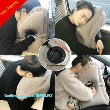Comfortable Light Flocking Travel Pillow Inflatable Artifact Office Student Napping Train Airplane