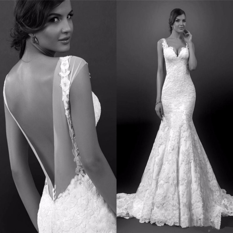 Mermaid Style Lace Wedding Gowns: Sexy Mermaid Wedding Dress New Style Spaghetti Strap Thick