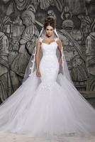 2014 Sexy Mermaid Wedding Dresses Illusion Transparent Back Beaded Lace Mermaid Bridal Gown With Court Train