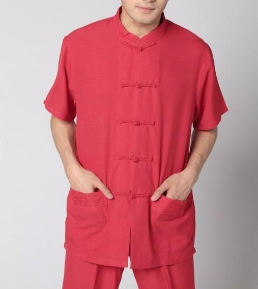 Venda quente vermelho chinês Top camisa de linho dos homens novidade Kung Fu blusa gola mandarim clássico roupas tamanho S a XXXL MS003