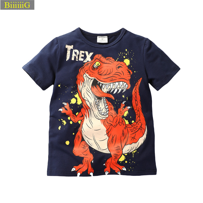 2018 Summer Cartoon Dinosaur Print Cotton Boy T-shirt Casual Fashion Short Sleeve O-neck T Shirt Children's Clothes 1-6y stylish short sleeve round neck high low hem tower and letter print t shirt for women