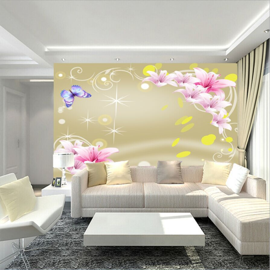 Exelent Floral Wallpaper Designs For Living Room Ensign - The Wall ...