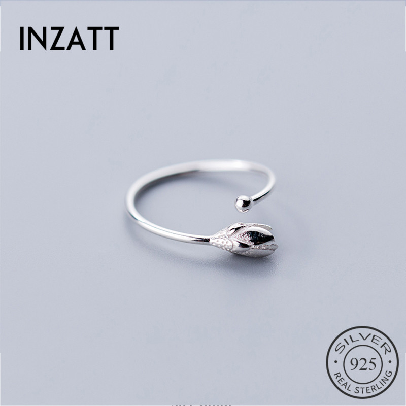 INZATT Genuine 925 Sterling Silver Rose Flower For Charming Women Anniversary Party Gift Fine Jewelry Cute Valentine's Day
