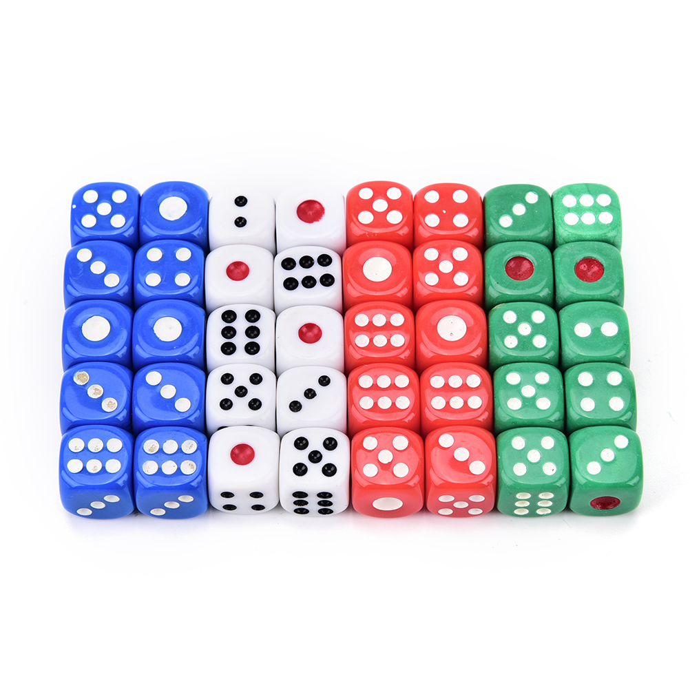 10 PCS Acrylic Transaprent D6 Dice,6 Sided Gambling Small Dice For Playing Game 12*12*12mm Red,blue,green,white