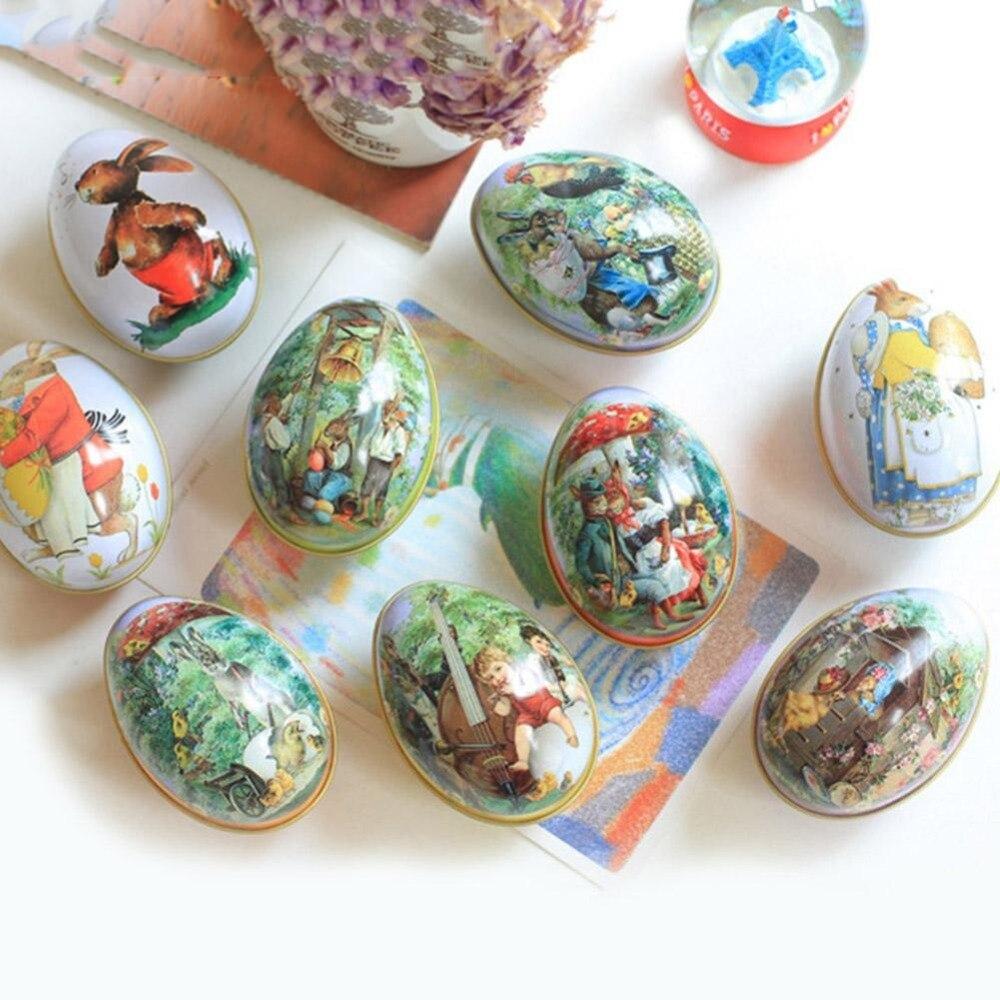 1 Pc Festival Liefern Die Neue Ostern Ei Geformt Süßigkeiten Zinn Verpackung Box Hochzeit Geburtstag Lagerung Box Kaninchen Muster
