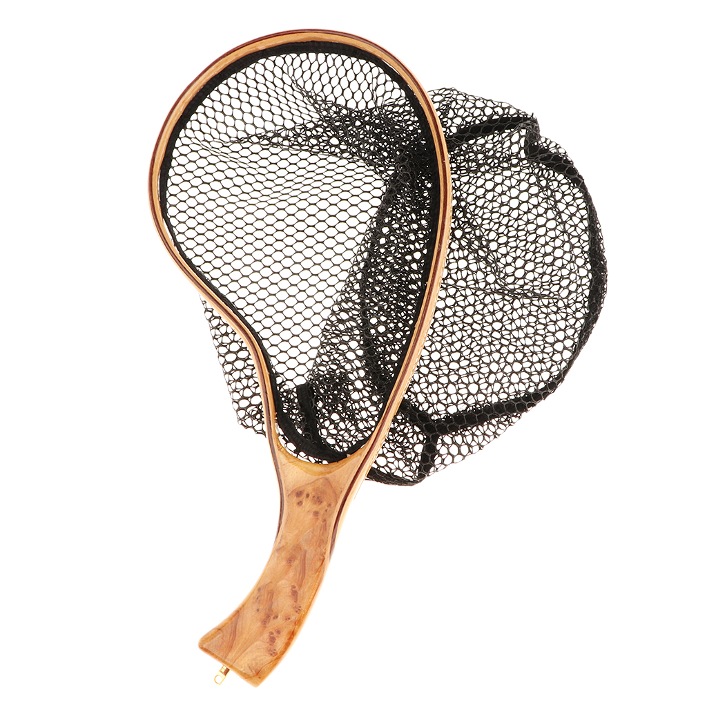 Fishing Net 35*20cm Fly Fishing Landing Net Mesh Trout Catch Netting tools Release Foldable Net With Handle Fishing Tackle Tools