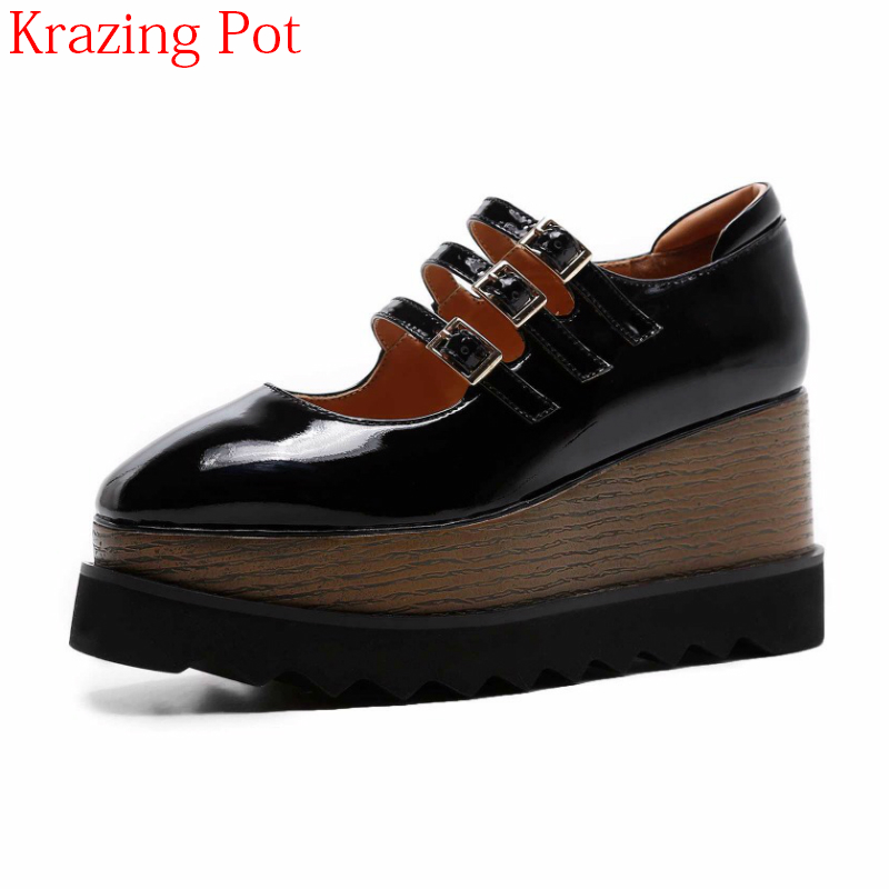 2018 New Vintage Brand Summer Shoes Cow Leather High Heels Wedges Summer Pumps Solid Metal Buckle Platform Mary Janes Shoes L18