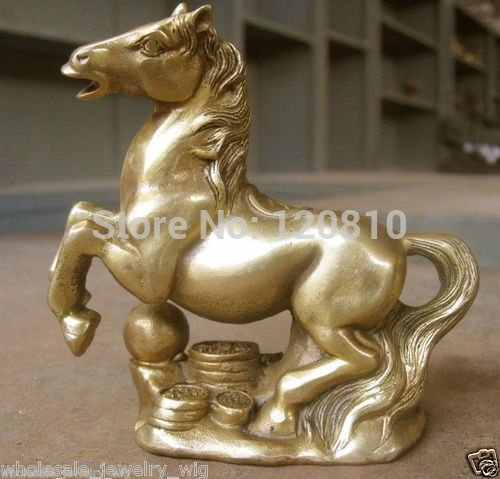 """SCY Copper Chinese good lucky horse Wealth coin """"yuanba"""" Bronze Statue"""