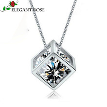 ElegantRose 925 Sterling Silver Jewelry 2 Color Crystal Angel Love Charms Cube Square Locket Pendant Necklaces Statement GSZ0001
