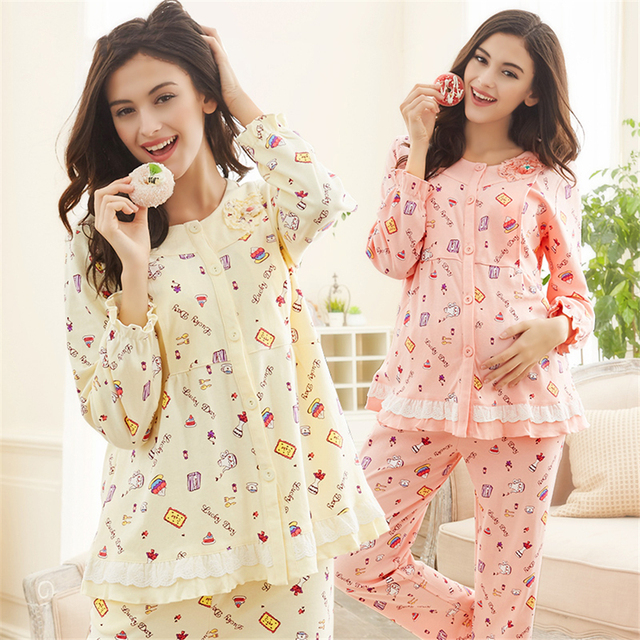 3d937daf9d Cute Summer Maternity Clothes Pregnancy Pajamas For Pregnant Women Long  Sleeve Casual Cotton Maternity Clothes Spring 605909