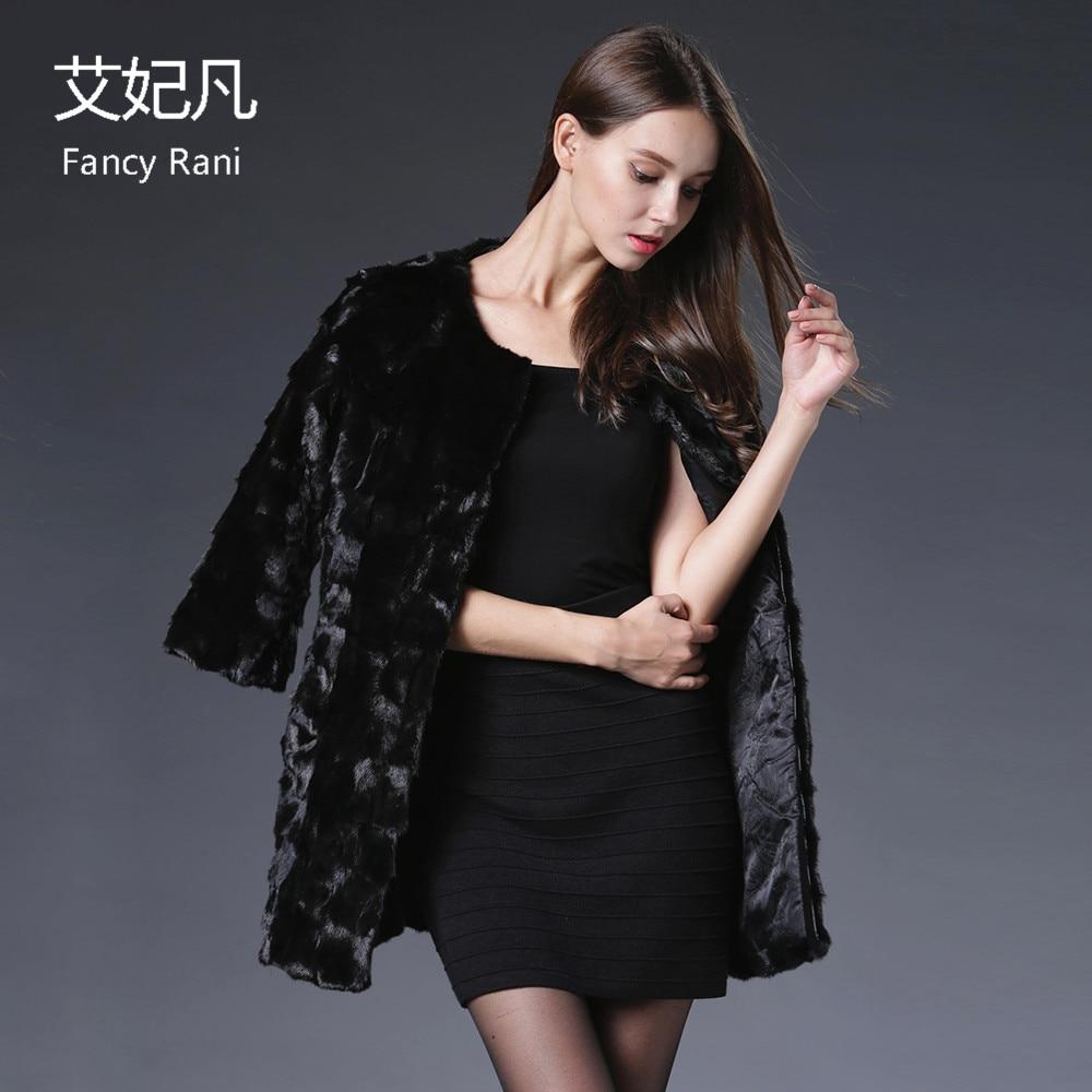 Černá originální kožichy Mink Fur Dámské zimní módní bundy - Dámské oblečení