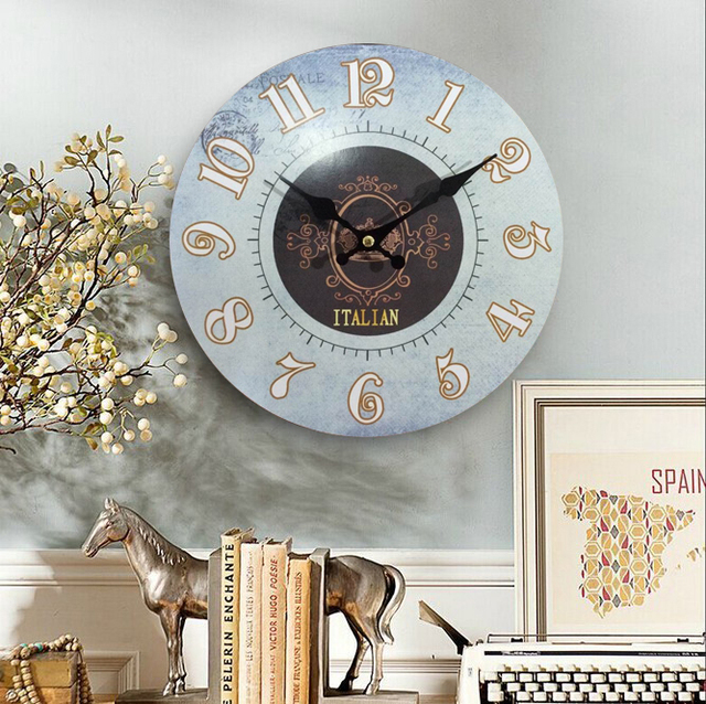 Free Shipping Wood Wall Clocks Italy Design Antiqued Quartz Mdf Wooden Clock 10 Inch Home