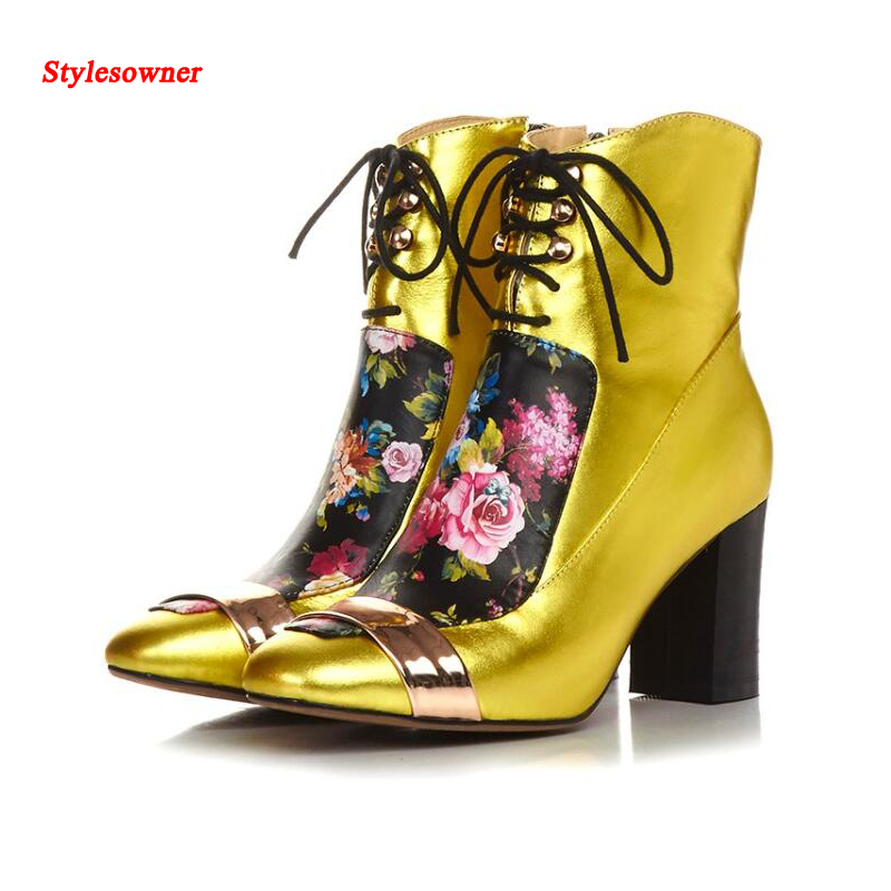 Stylesowner New Winter Fashion Women Lace Up Boots Block Heel Short Boots Flower Printing Leather Squared Toe Ankle Botas Mujuer camel women s pump 2015 new fashion leather winter short boots size zipper lace up elegant women s high heel boots pumpa54194612