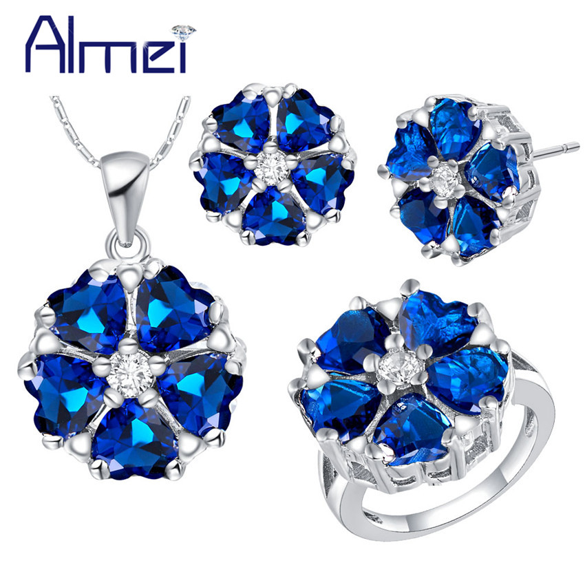 Almei Bridal Flower Jewelry Sets for Women Wedding Earrings And Necklace Fashion Pink Bl ...
