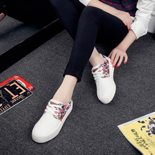 Free shipping canvas shoes female wind solid color simple floral muffin help low heavy-bottomed shoes spell color