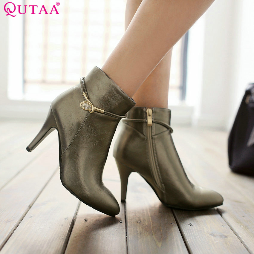 ФОТО QUTAA Rhinestone Beige 2016 Sexy Pointed Toe PU Leather Women Shoes Thin High Heel Ankle Boot Women Motorcycle Boot Size 34-43