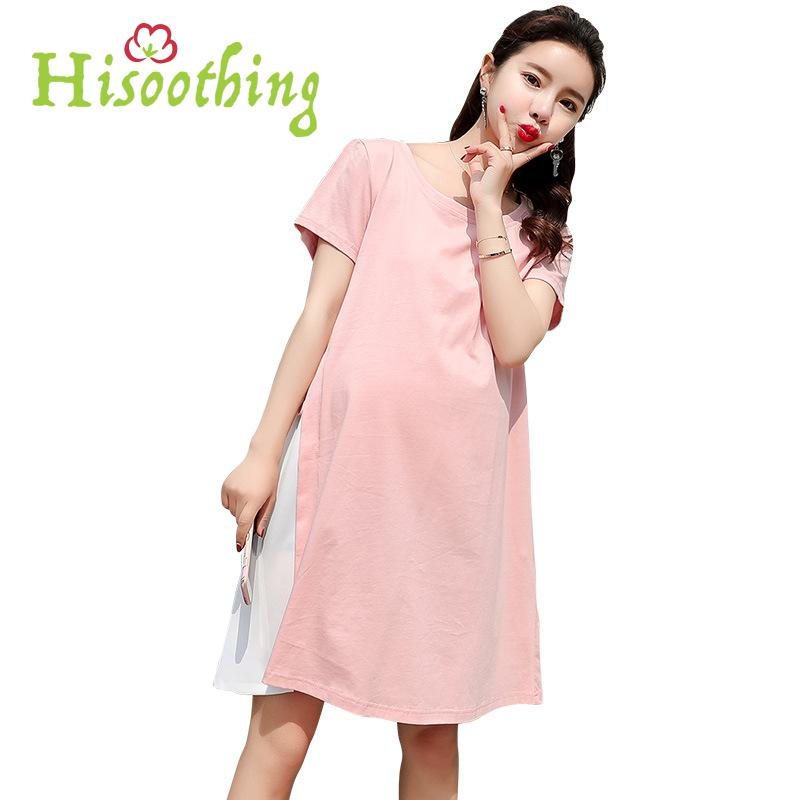 Summer Personality Women Pregnant Skirt Cotton Bow Lovely Dress Short Sleeve Soft Plus Size Maternity Casual Patchwork Wholesale