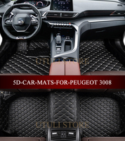 Leather Car floor mats for Peugeot 3008 4008 5008 SUV custom fit car styling all weather carpet floor liners foot mats