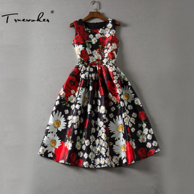 Truevoker Designer Dress женщин Высокого Качества Без Рукавов Многоцветный Мак Цветочные Отпечатано Колен Бальное платье