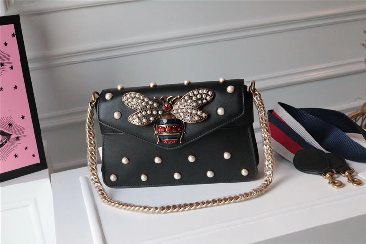 2018 top pearl chain ladies shoulder bag leather luxury shoulder strap brand diagonal handbag shiny fashion evening bag with box