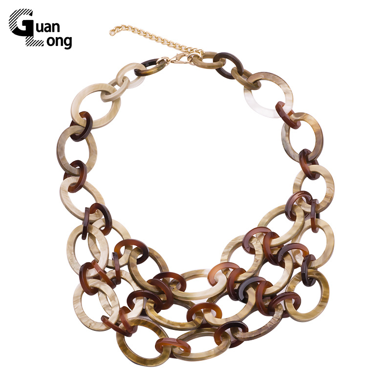GuanLong Wholesale Mote Multi Layer Oval Resin Akryl Link Chain Halskjeder For Women Gaver Smykker