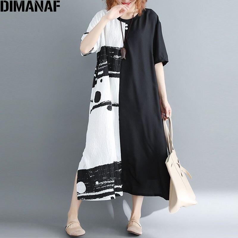 DIMANAF Summer 2018 Women Dress Plus Size Patchwork Black White Linen Button Female Vintage S Vestidos Oversized Long Dress