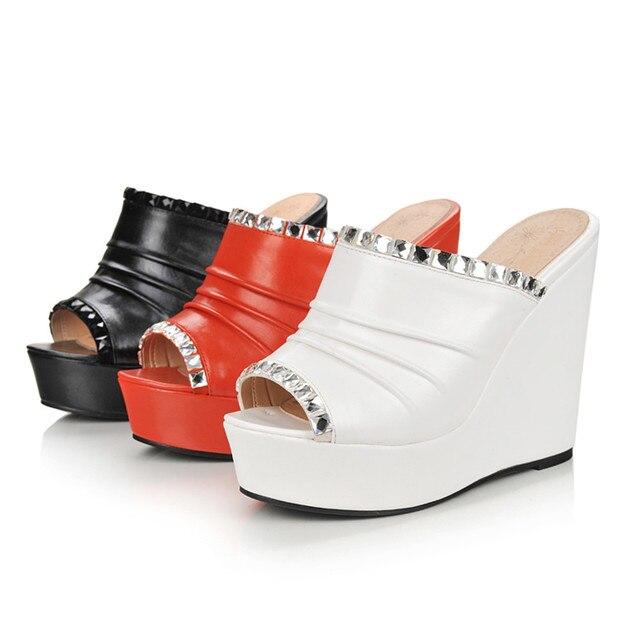 Karinluna nouveautés livraison directe grande taille 32-43 Peep orteil talons hauts compensés mule pompes femme chaussures chaussures de fête femmes pompes