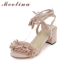 Meotina Design Shoes Women Sandals Summer Tassel Chunk Heels Sandals Heels Cross Strap Ladies Sandals Gladiator Shoes Gray 42 43