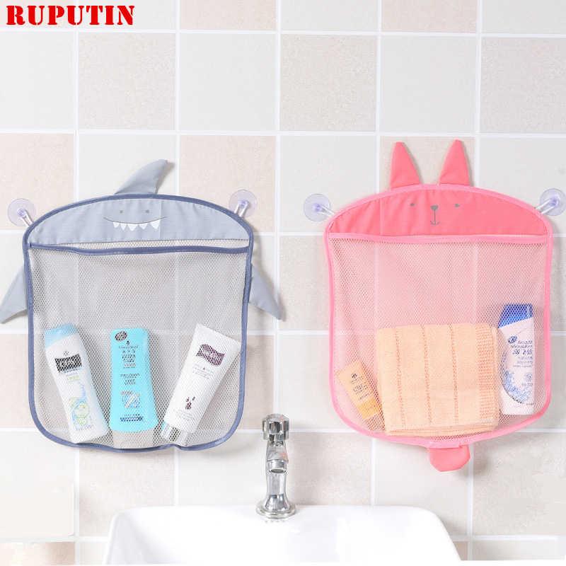 RUPUTIN 1 pc Dos Desenhos Animados Pendurado Na Parede Do Banheiro De Armazenamento Cosméticos Saco de Malha Saco de Malha Net Banho Do Bebê Brinquedos Compõem Organizador recipiente