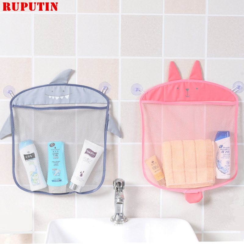 RUPUTIN 1pc Cartoon Wall Hanging Bathroom Storage Cosmetic Bag Knitted Net Mesh Bag Baby Bath Toys Make Up Organizer Container