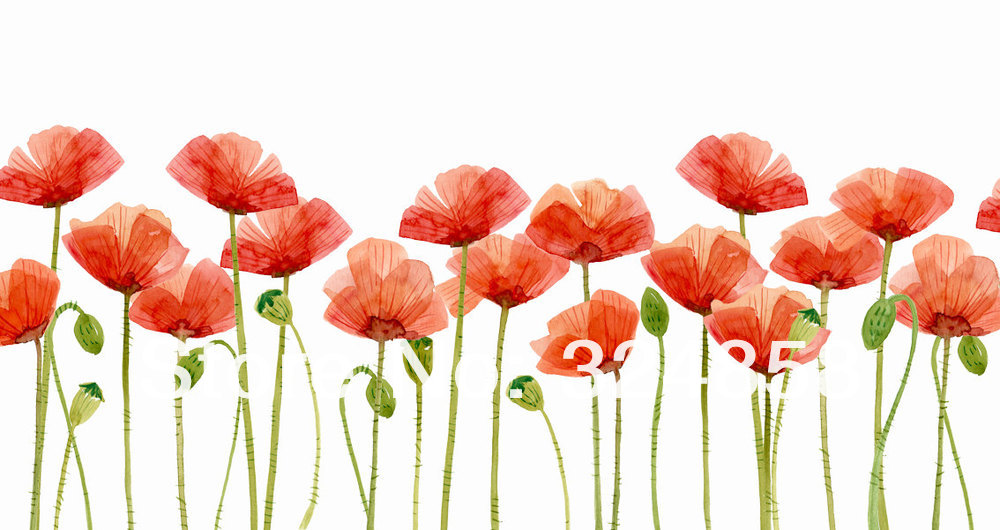 Original Watercolor Painting Poppies Flower Clipart Artwork Home Wall Decor Art Contemporary Modern Love Fine In Calligraphy From