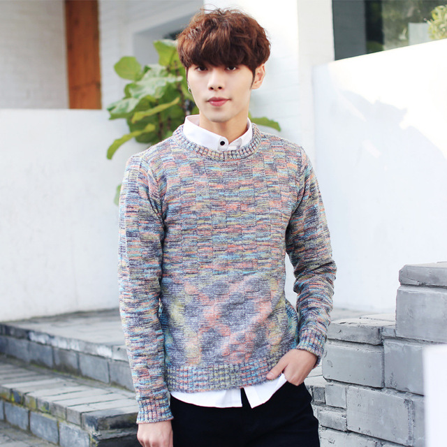Mens Knitted Pullovers 2016 New Korean O neck Youth Jacquard Knitted Sweater Men Knitted Sweaters and Pullovers Teenager