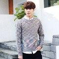 Mens de Punto Jerseys 2016 Nuevo Coreano O cuello de Jacquard de Punto Hombres Suéter de Punto Suéteres y Jerseys Juventud Adolescente