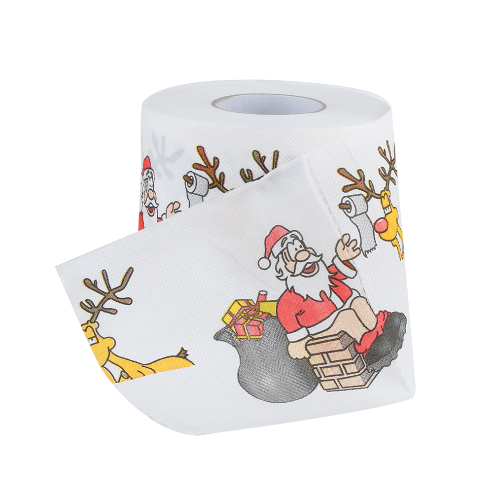 Santa Claus Printed Merry Christmas Toilet Paper Tissue Table Room Decor Xmas Party Events Ornament Crafts Accessories