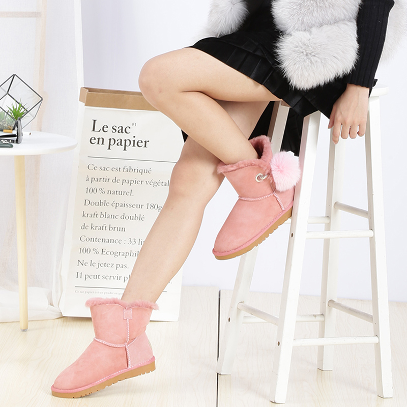 UBZ 2017 new fashion snow women shoes real sheepskin leather winter snow boots with button sheep fur free shipping ubz free shipping women s genuine high quality snow boots sheepskin leather 100