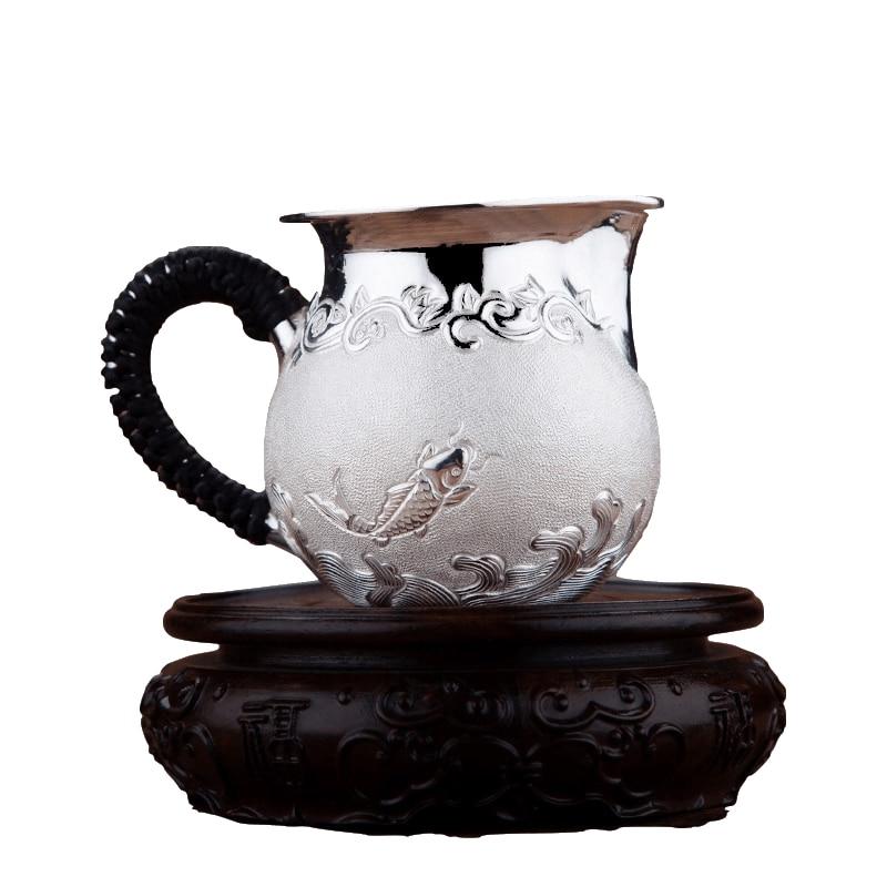 Prata esterlina 999 bule kung fu conjunto de chá acessórios chaleira