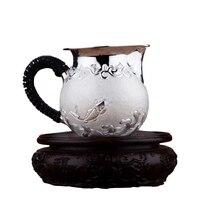Prata esterlina 999 bule kung fu conjunto de chá acessórios chaleira|Jogos de chá|Casa e Jardim -