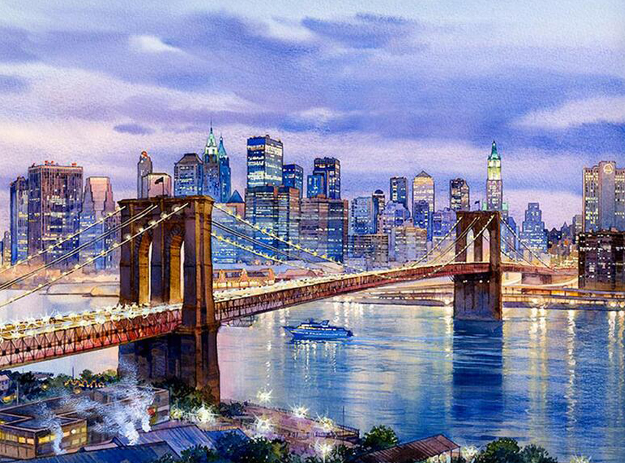 5D DIY Diamond Lukisan New York Brooklyn Bridge Diamond Full Circular Kota Malam Pemandangan Diamond Bordir Cross Stitch