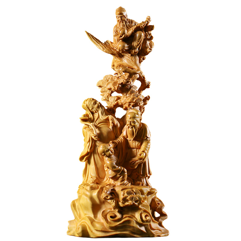 Royal Three stars Sculpture mythology Fu Lushou solid wood Lucky blessing Decoration carving crafts birthday gift home decor
