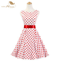 Audrey Hepburn Style Summer Polka Dot 50s 60s Cotton Vintage Dress Plus Size Swing Rockabilly Casual