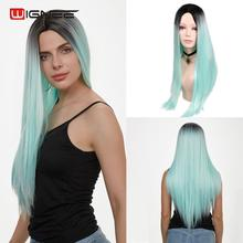 Wignee Ombre Blue/Pink/Ash Blonde/BUG Cosplay Wig For Women High Density None Lace New Arrival Long Straight Hair Synthetic Wigs