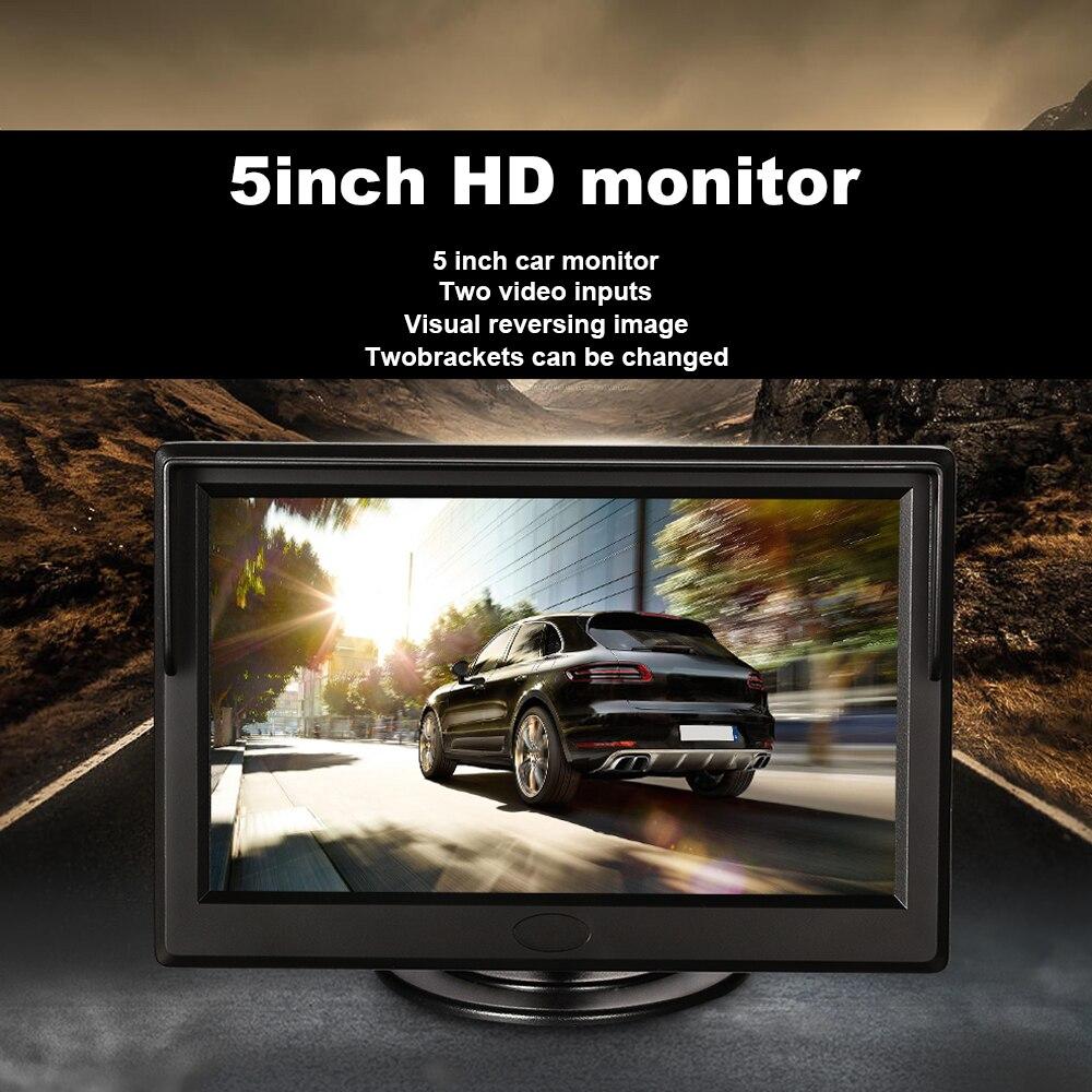 5 Inch HD Car Monitors Rear View Backup Reverse Camera Color Screen 2 Video Inputs Suppot DVD VCD Display Television